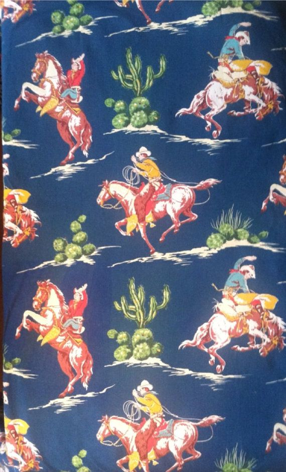 Cowboy Fabric Vintage Cowboy Nursery Vintage Western