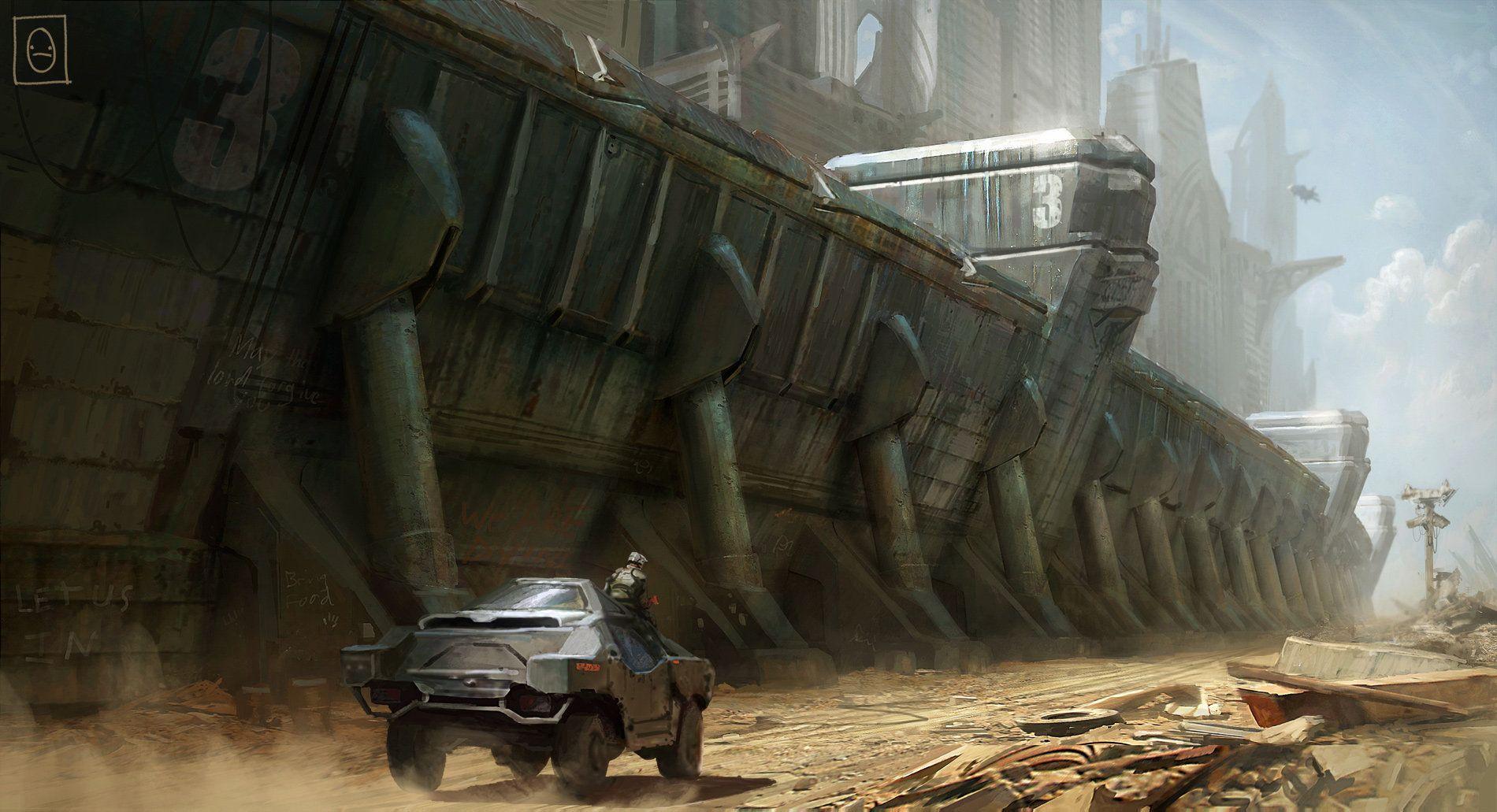Artstation outer city wall ken fairclough concept art for Post apocalyptic decor