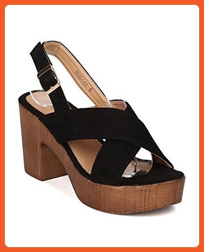 655d47598b Women Faux Suede Block Heel Sandal - Platform Chunky Heel - Faux Wooden  Slingback Heel - GI49 By Alrisco - Black Faux Suede (Size: 7.0) - Sandals  for women ...