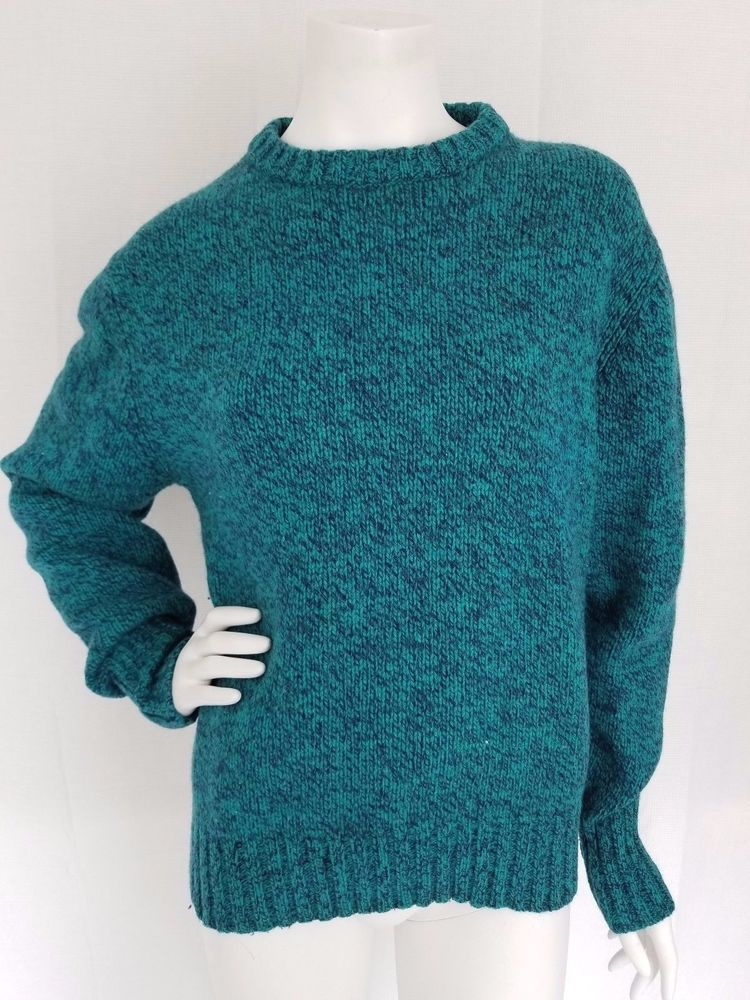 ef81fa77394e12 Vintage WOOLRICH Wool Blend Sweater Teal Navy Blue Heather - Womens LARGE # Woolrich #Crewneck
