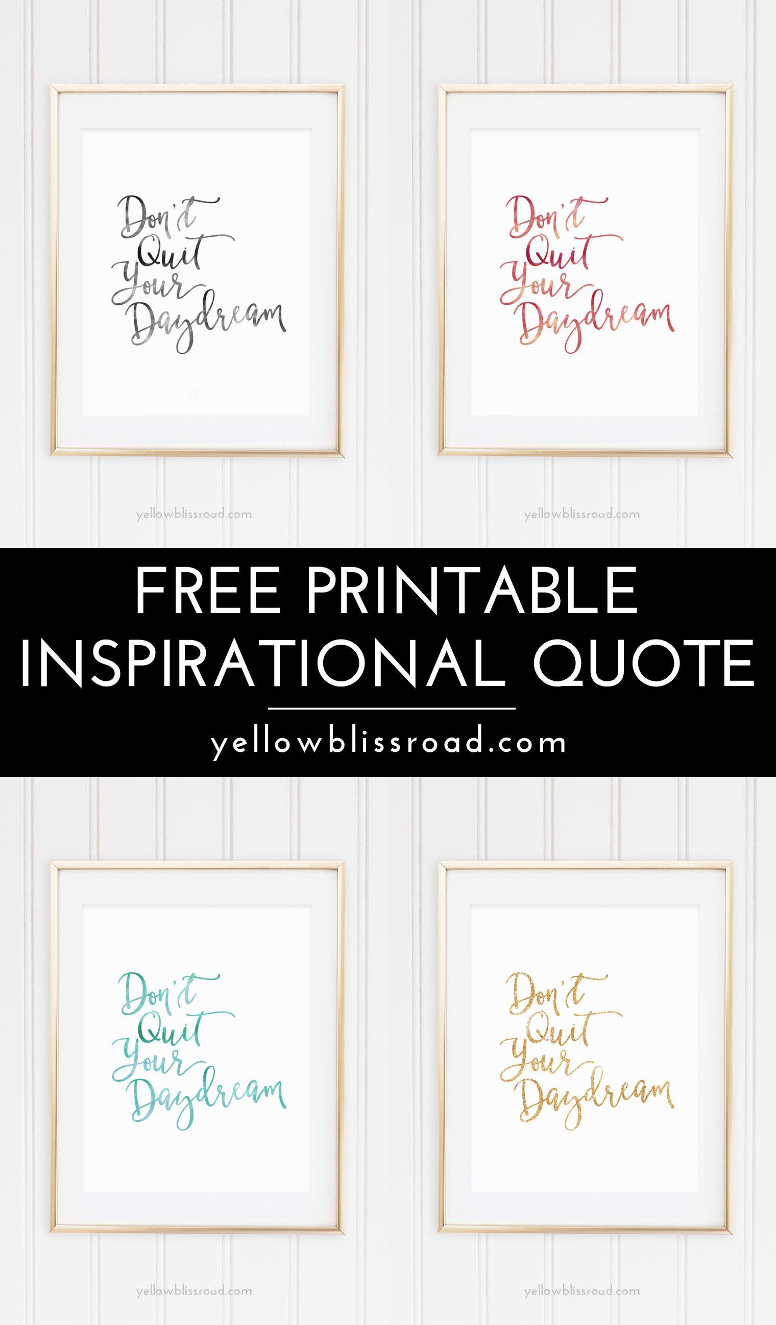 Free Inspiration Quote Printable   Printables   Printable ...