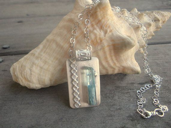 Raw Aquamarine Crystal Sterling Silver by 2di4jewelryoriginals