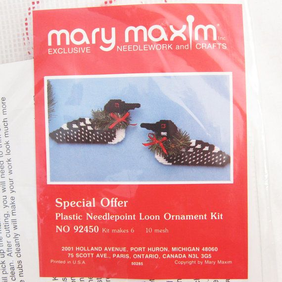 Plastic Canvas Common Loon Ornament Kit by CeltiqueCreations, $5.00