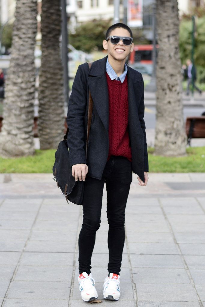 black coat white shoes han coats