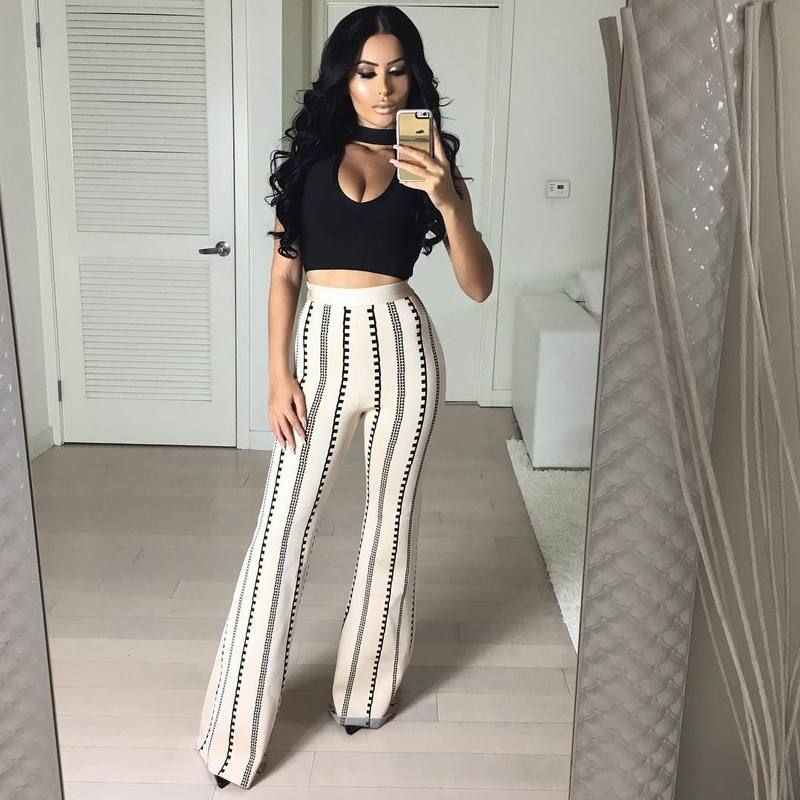 19251466f black sleeveless top and pants 2017 sexy newest fashion 2 piece bodycon  rayon bandage suit