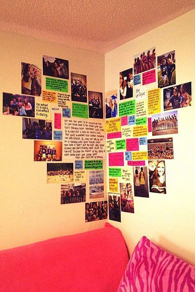 Diy Wall Art Ideas Heart Shaped Memory Corner Is Perfect For Teen