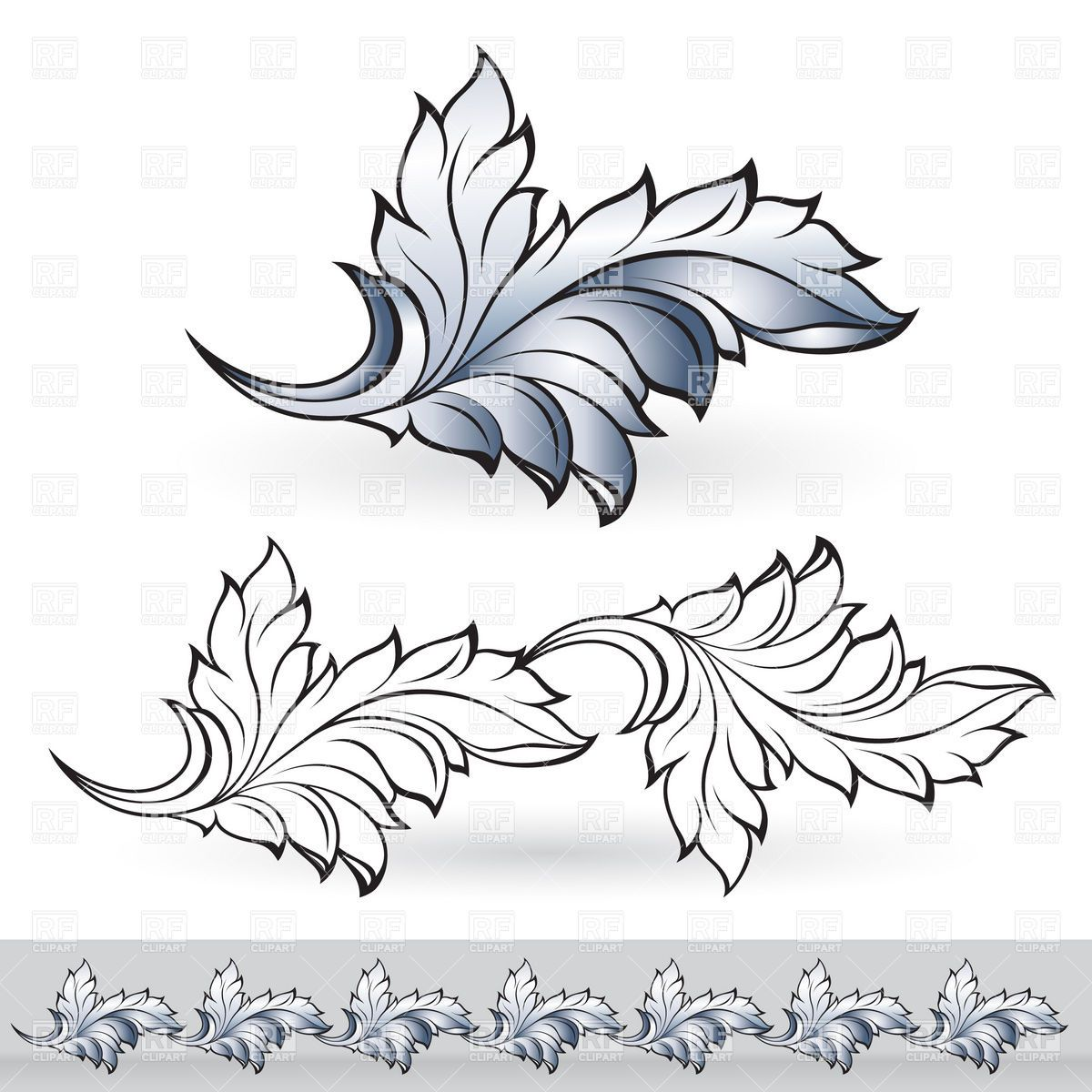 floral decorative element border and patterns vector