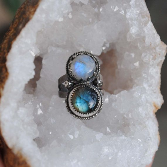 Moonstone Labradorite Double Stone Ring  SIZE by SongYeeDesigns