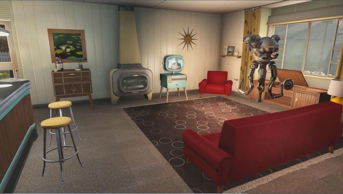 Image result for fallout 4 living room fallout 1950s aesthetic midcentury modern retro