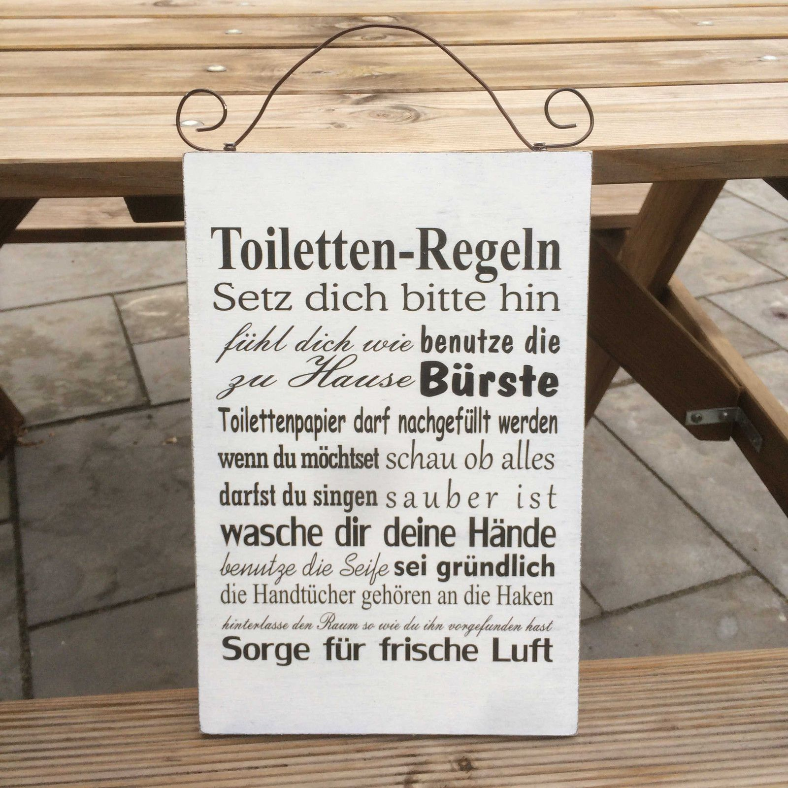shabby chic schild xltoilette toilettenregeln geschenk landhaus vintage holz vintage holz. Black Bedroom Furniture Sets. Home Design Ideas