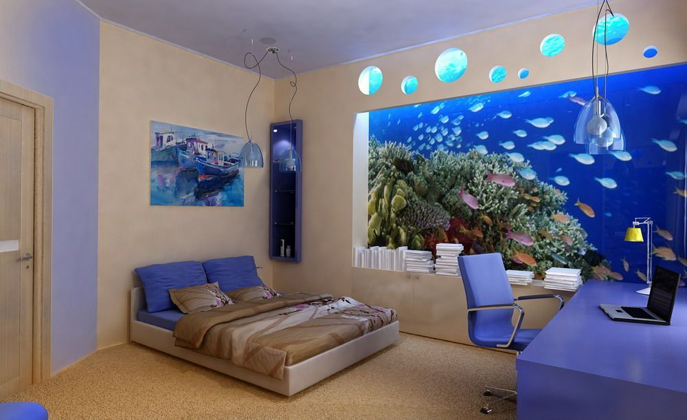 I Always Want To Have A Big Aquarium Like This, Standing Beautifuly On The  Bedroom Wall.       55 Original Aquariums In Home Interiors