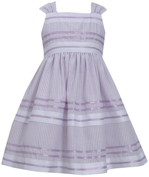 a6ec2ce4f2 Little-Girls Lavender-Purple White Metallic Pencil Stripe Ribbon Linen Dress