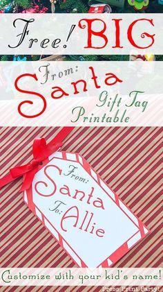 Personlaized X-mas Present Tags Up to 5 Custom PRINTABLE 1x2-58 Santa Labels Editable Christmas Gift Labels