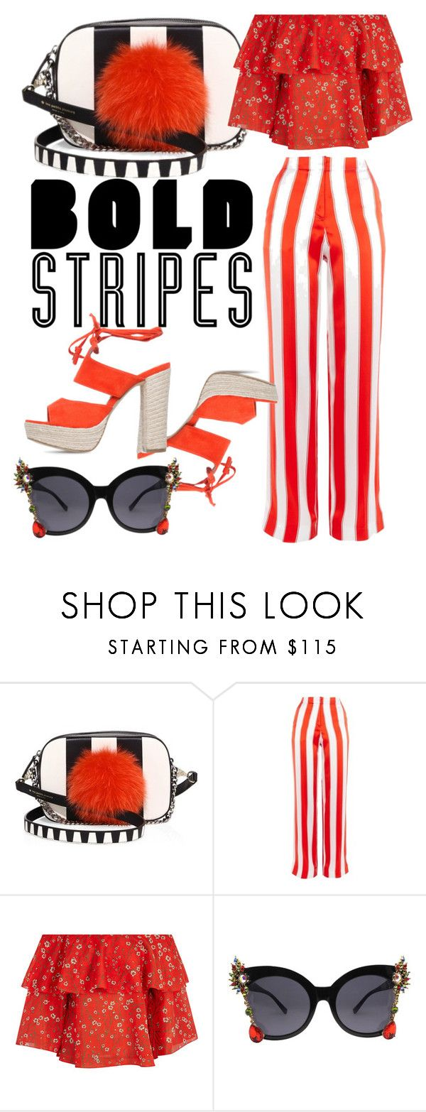 """""""Strong Stripes: Graphic Striped Pants"""" by emmmy88 ❤ liked on Polyvore featuring Les Petits Joueurs, Topshop, Alice + Olivia, stripedpants, polyvoreeditorial and polyvorefashion"""