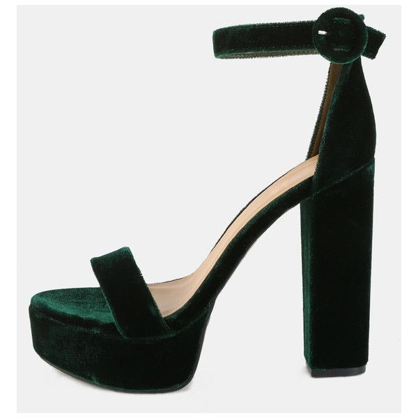 Open Toe Velvet Platform Heels GREEN ($34) ❤ liked on Polyvore featuring  shoes,