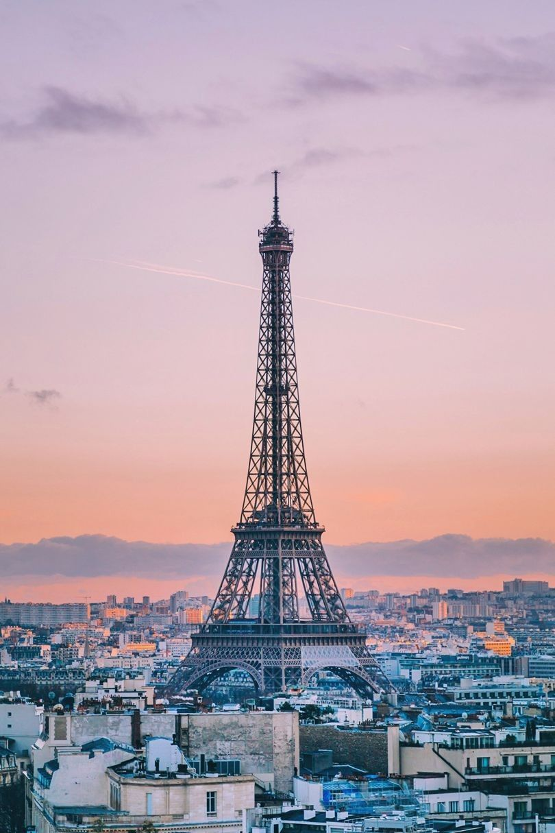 The Eiffel Tower From The Arc De Triomphe Classic Sunset