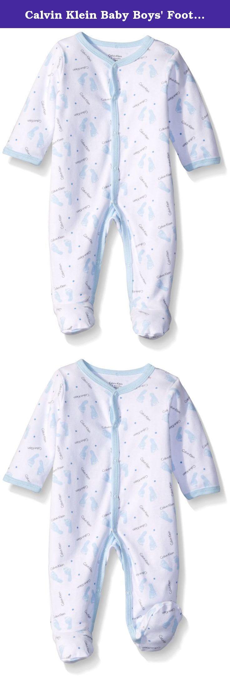 Calvin Klein Baby Boys Footprint Sleeper Blue 3 6 Month Baby Boy Baby Blanket Sleeper