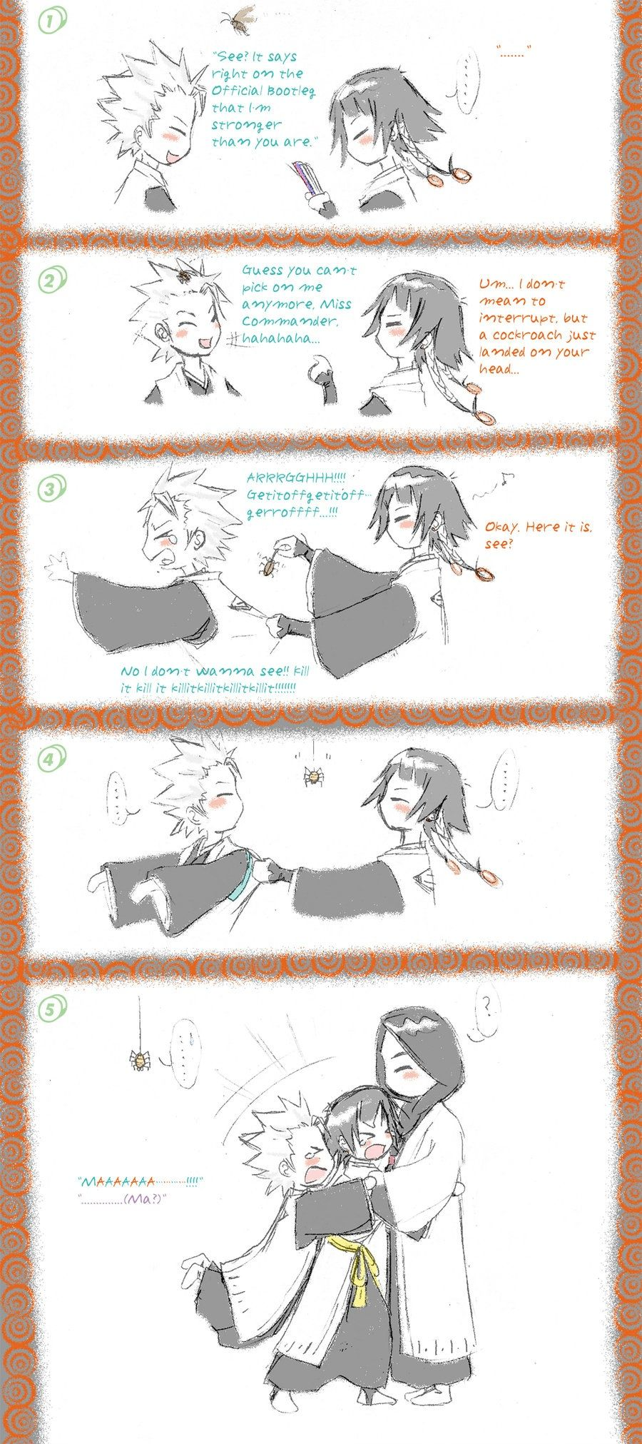 Cute comic featuring Toushirou Hitsugaya, Soi Fon, and Captain Unohana.