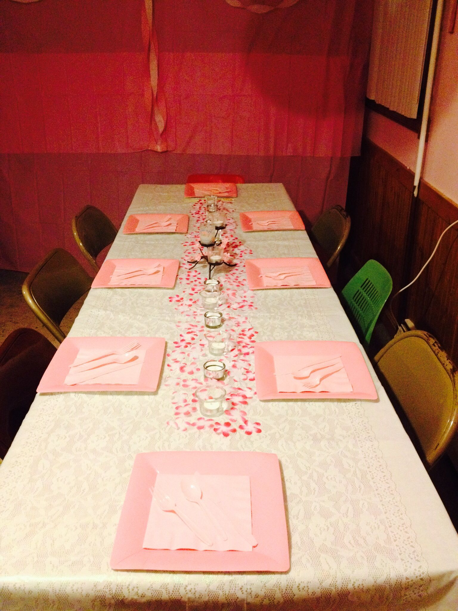 Japanese cherry blossom themed birthday party - table decor