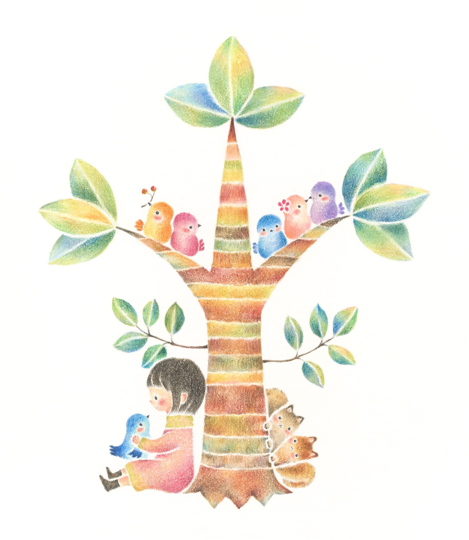 "mikuri and little birds"" −rili, picture book, illustration"