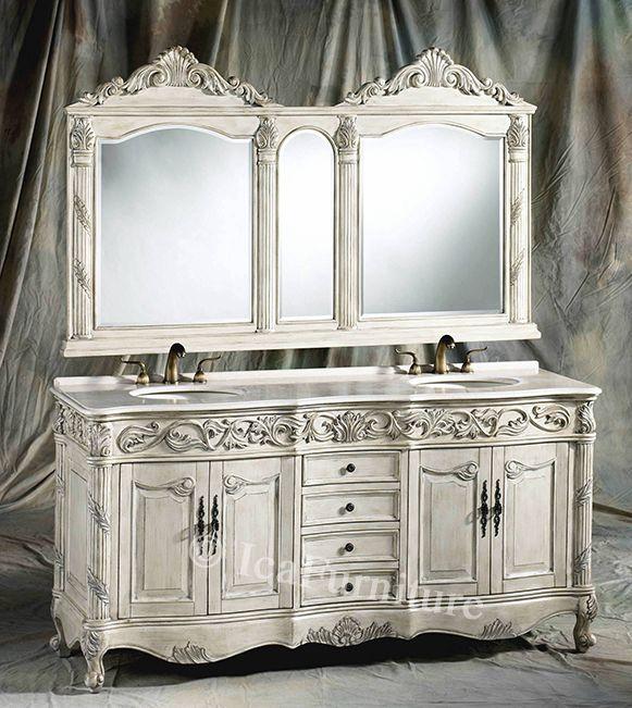 white vanity set   72 Inch Antique White Double Vanity Set - White Vanity Set 72 Inch Antique White Double Vanity Set Stuff