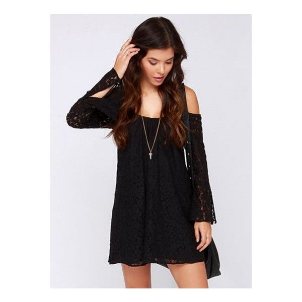 29b6565624 Women s Off Shoulder Lace Embroidery Long Sleeve Mini Dress (£22) ❤ liked  on Polyvore featuring dresses