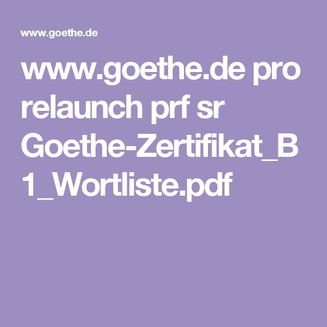 Wwwgoethede Pro Relaunch Prf Sr Goethe Zertifikatb1wortlistepdf