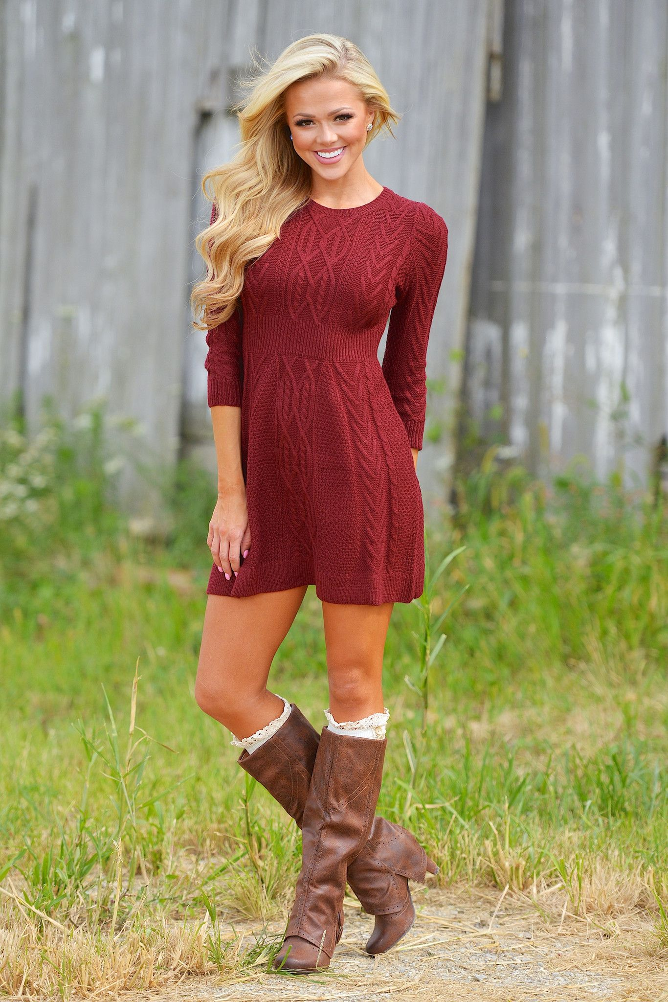 Meeting The Parents Sweater Dress - Burgundy from Closet Candy Boutique e29692686