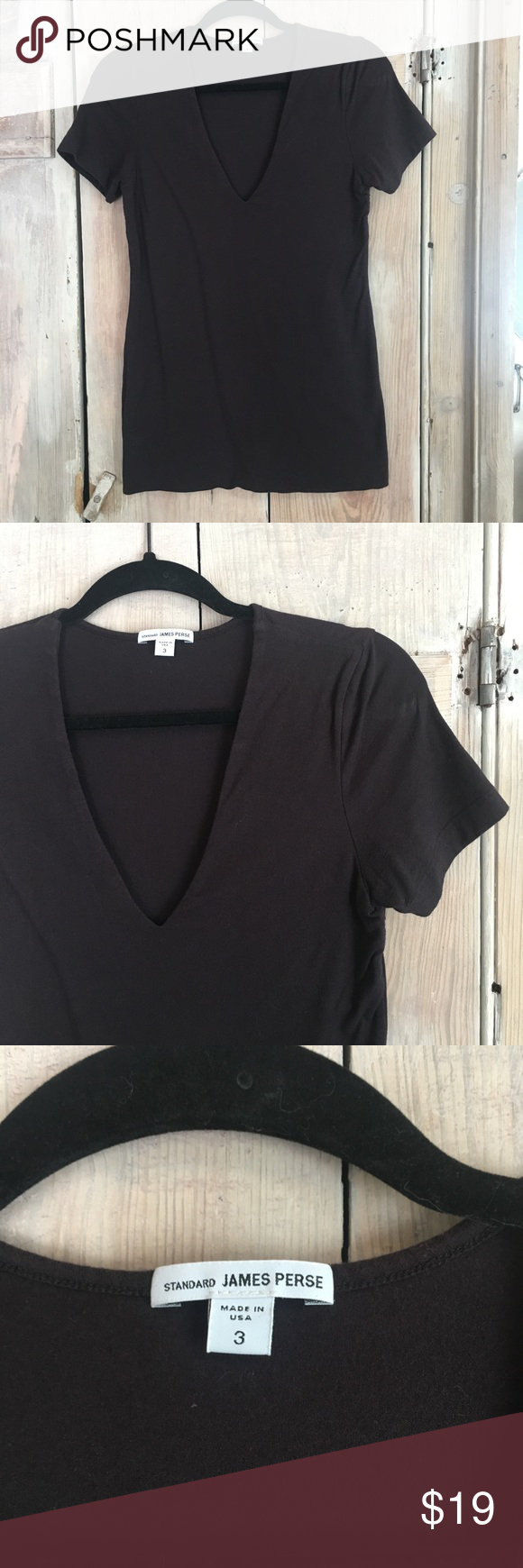 Standard James Perse Soft Cotton V Neck Tee Sz L This So Soft Top
