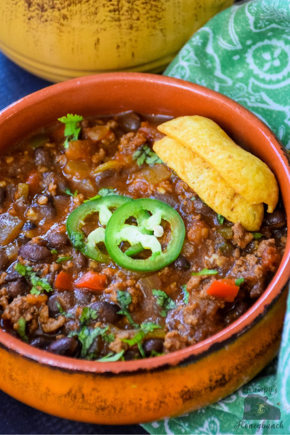 Black Bean Chili With Ground Beef And Chipotle Grumpy S Honeybunch Recipe In 2020 Winter Soup Recipe Southern Cooking Recipes Dinner Dishes