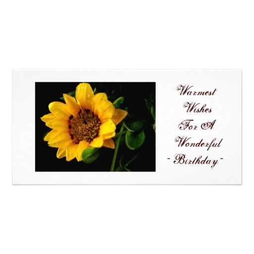 Cheap Warmest birthday wishes, yellow floral photo card template - birthday wish template