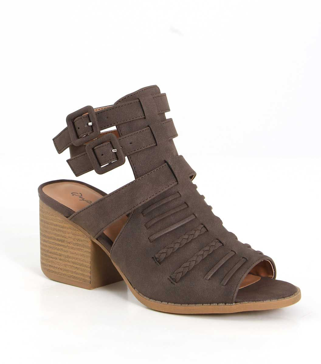 06d62f33fcd6f Qupid Shoes Core Strappy Heels in Brown CORE-96X BROWN