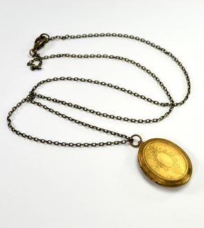 Vintage Oval Brass Locket Necklace