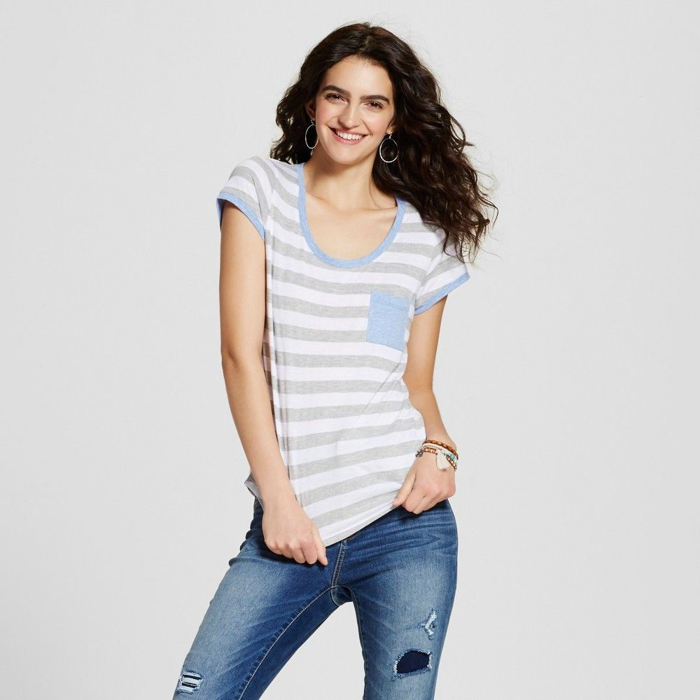 Women's Stripe Ringer Pocket Tee Heather Grey S - Self Esteem (Juniors')