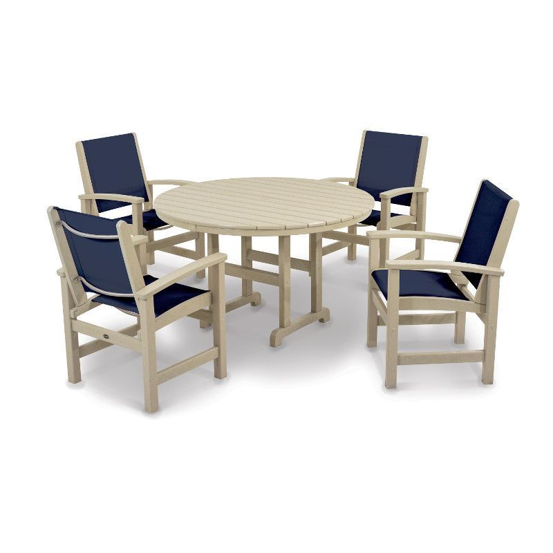 Polywood Coastal 5 Piece Outdoor Dining Set (Sand / Navy Blue Sling),  Beige, Patio Furniture (Plastic)