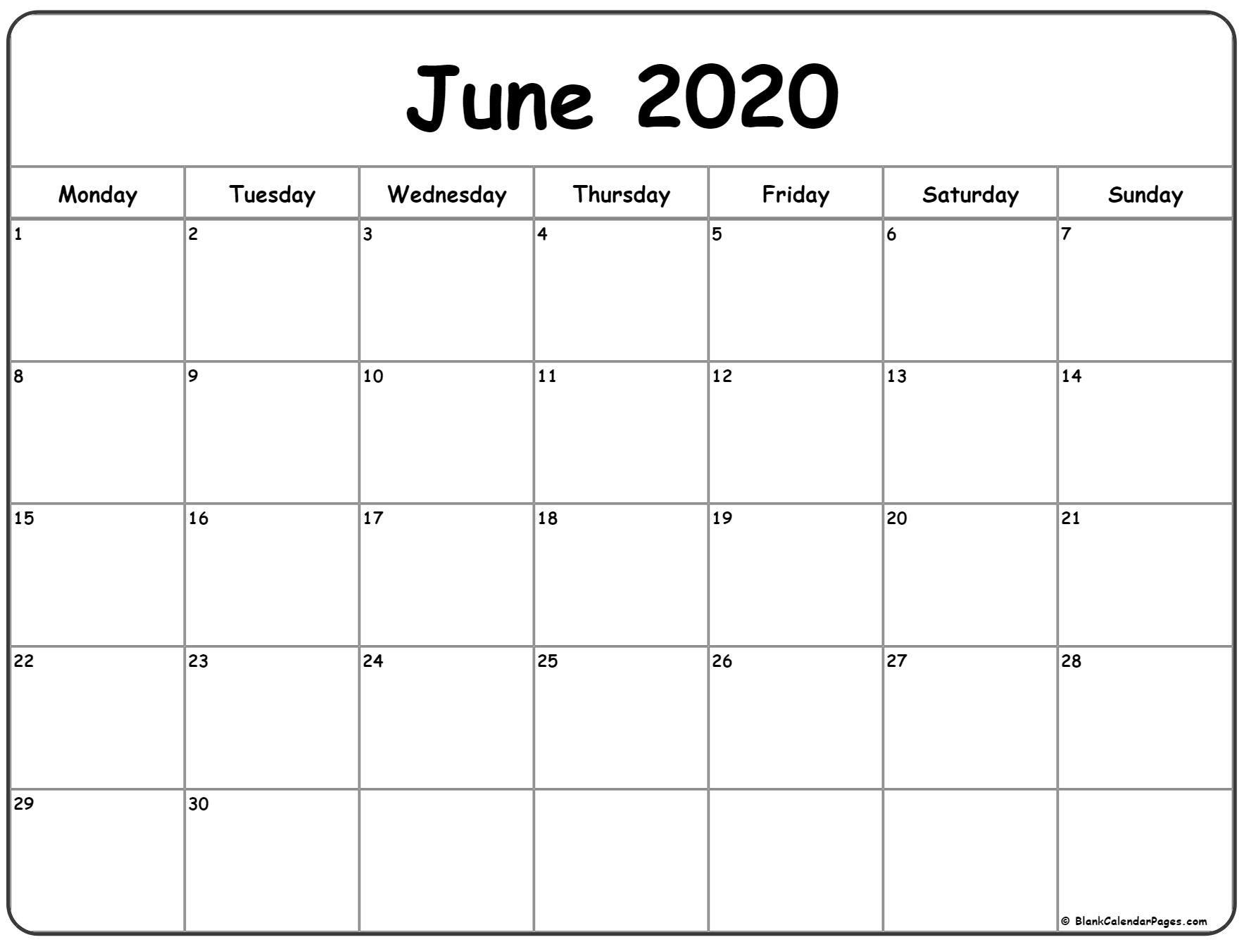 June 2020 Monday Calendar Monday To Sunday In 2020 Calendar