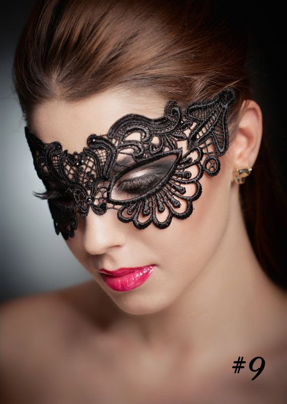 Black Lace Mask Ladies Masquerade Mask Simple Halloween Masks for ...