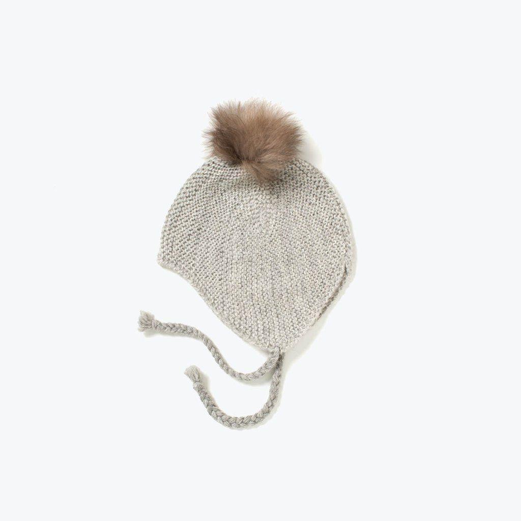 Hand knitted alpaca bonnet with White fur pompom - Grey - 1-3y   Gorros