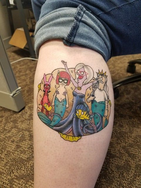 My Bobs Burgers Little Mermaid Tattoo Done By Nickole At Black Arrow Tattoo In