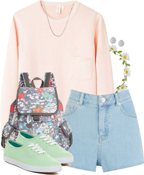 Luna Lovegood Inspired Outfit w/ Pastels and a Flower Crown by hpstyle featuring sparkly earrings