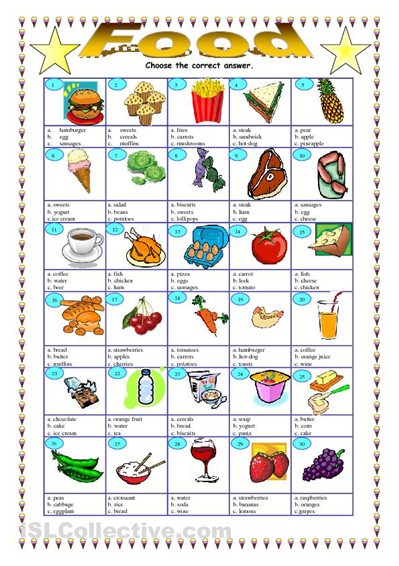 Food Choose The Right Answer Worksheet Islcollectivecom Free Esl ...