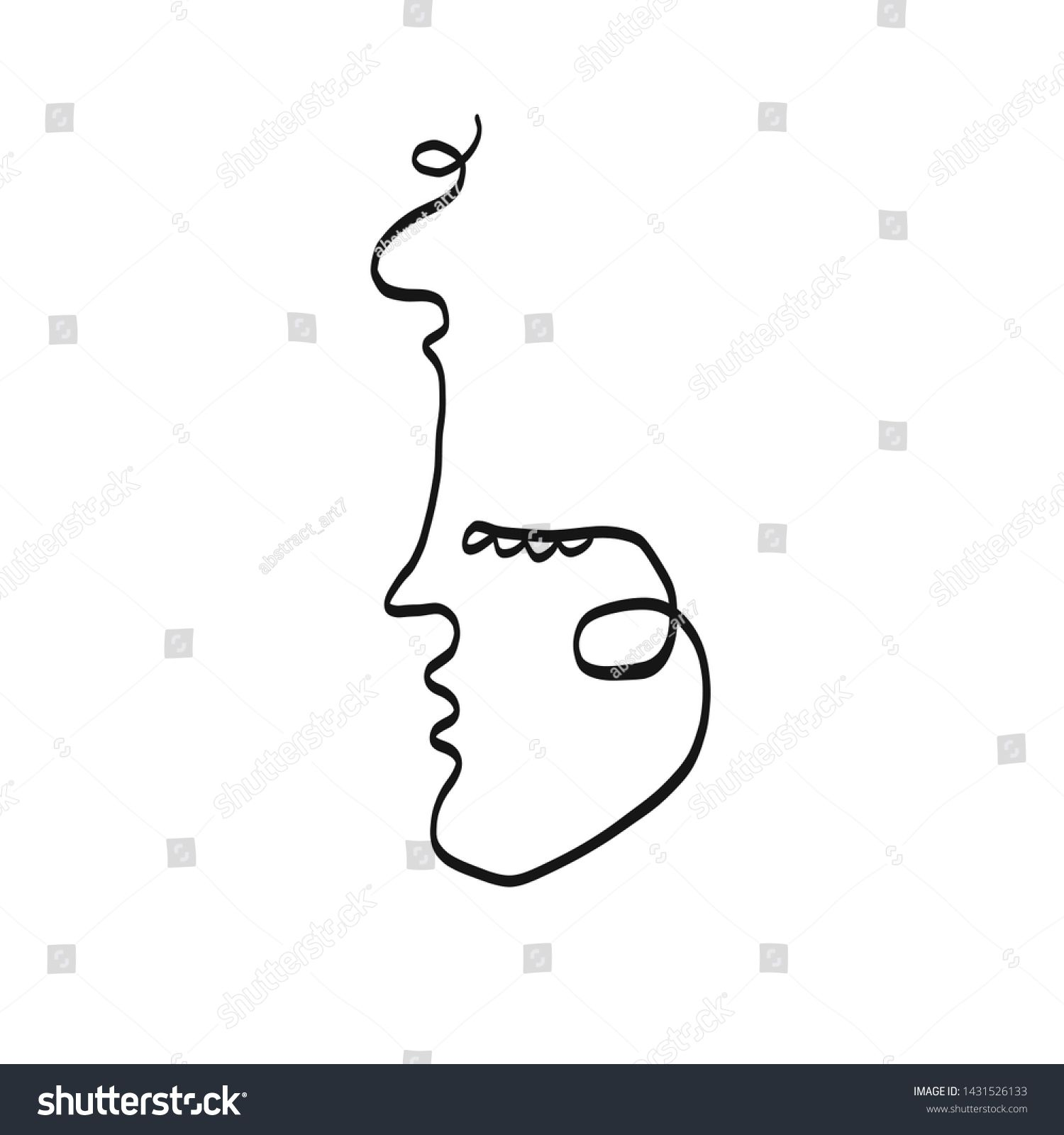 Stylized woman abstract portrait in modern outline graphic style One line drawing Continuous painting human face Aesthetic control contemporary art