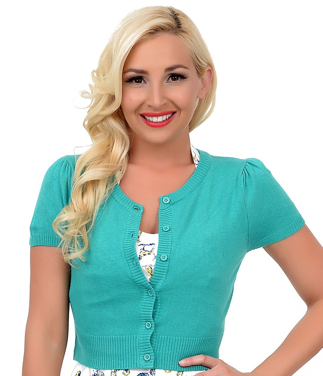 Green Short Sleeve Button Up Crop Cardigan | The Look | Pinterest ...