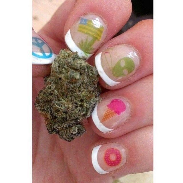 Pretty nug on pretty nails! ❤ Nail decals from www.mmjco.com ...