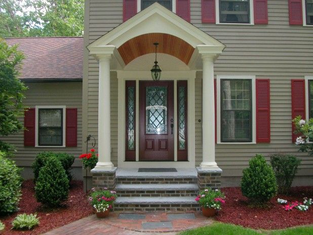 Red Front Door Brown House tan house red door black trim - google search | house color