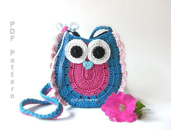 Crochet Owl Purse Pattern Bag Girls Handbag Marimartin Instant Pdf
