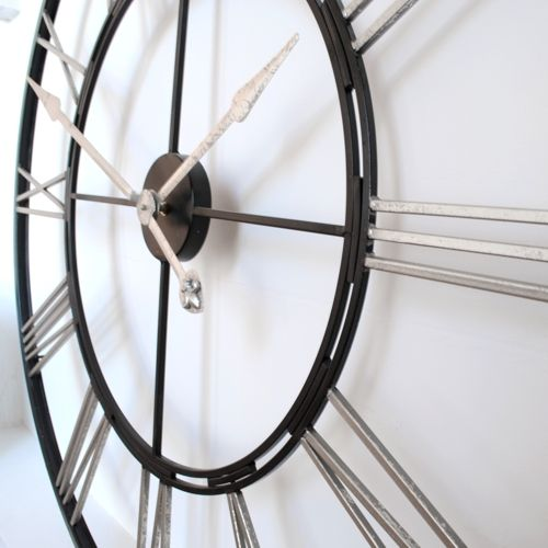 Extra Large big 1 meter Roman Silver and Black Skeleton Wall Clock