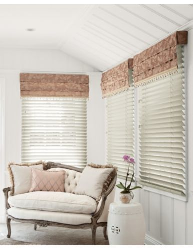 smith noble soft roman fabric valance in serafina blush over wood blinds in bamboo