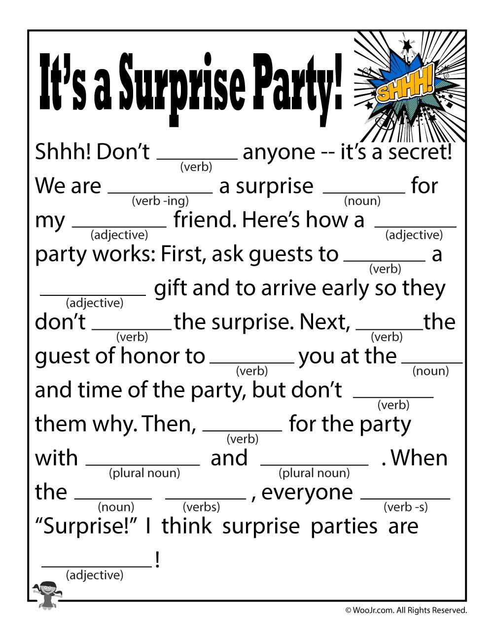 It S A Surprise Party Mad Lib Woo Jr Kids Activities Kids Mad Libs Funny Mad Libs Mad Libs