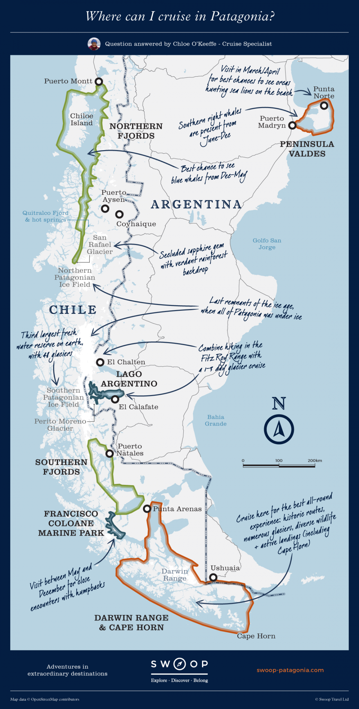 Patagonien Highlights Karte.Map Showing Where You Can Cruise In Patagonia Access Areas Of